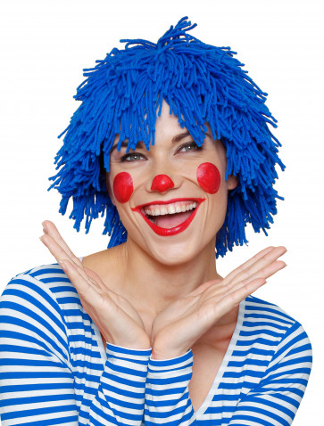 Perücke Clown Wolle blau