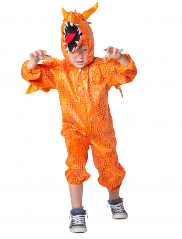 Overall Plüsch Drache orange Kinder (Gr. 104/128)