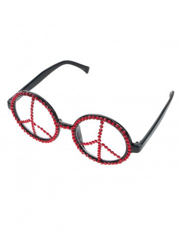 Brille Peace mit Strass rot