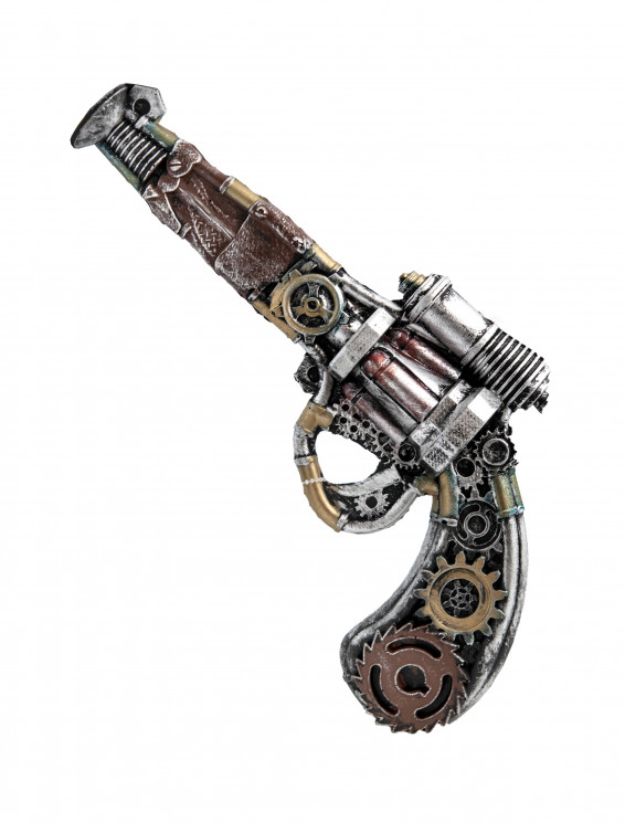 Revolver Steampunk silber/messing