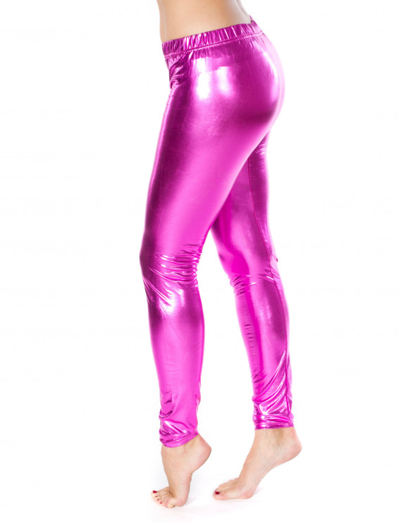 Leggings pink metallic