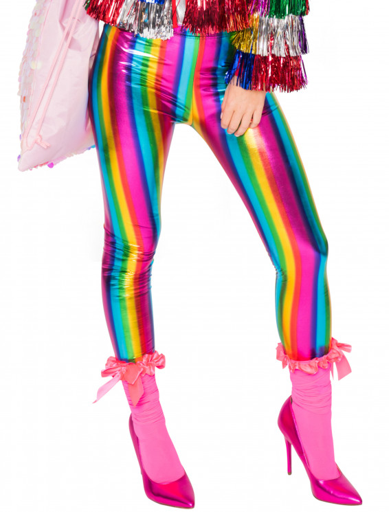 Leggings metallic Regenbogen