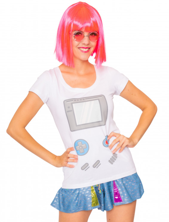 T-Shirt 90er Gamer Damen weiß