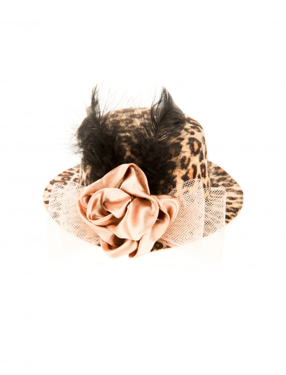 Mini Hut Leopard mit Rose & Feder