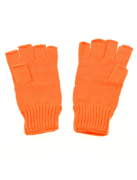 Strickhandschuhe fingerlos orange