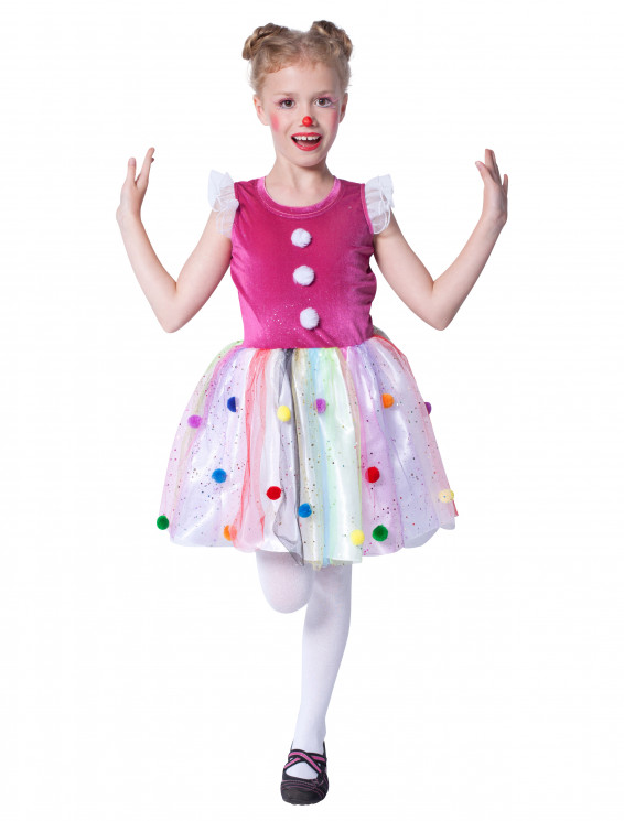 Kleid Clown mit Pompons Kinder