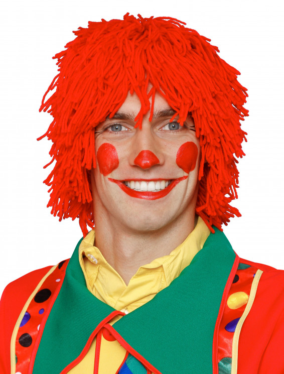 Perücke Clown Wolle rot