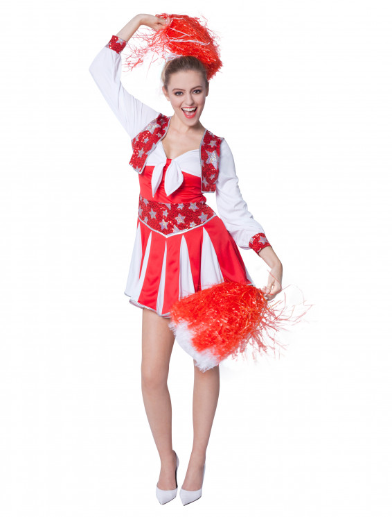 Kleid Cheerleader Damen rot/weiß