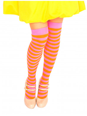 Overknees orange/pink gestreift