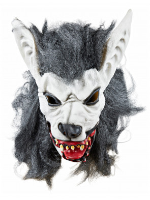 Latexmaske Werwolf weiß