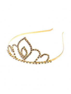 Diadem Metall mit Strass gold