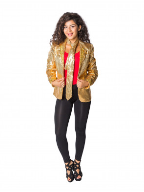 LED Paillettenjacke Damen gold