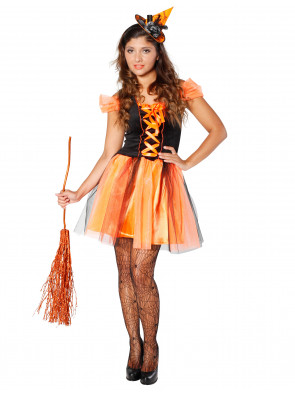 Kleid Hexe orange