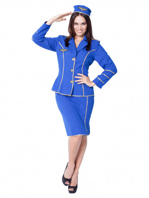 Stewardess blau 2-tlg.