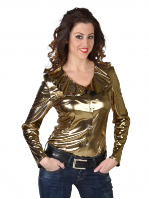 Bluse Damen metallic gold