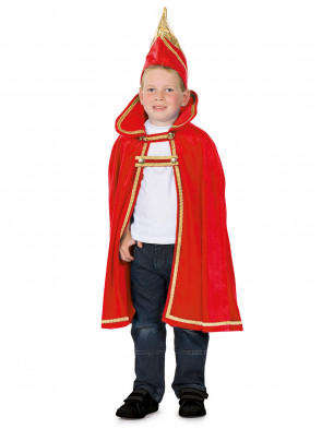 Cape Prinz velours rot Kinder 2-tlg.