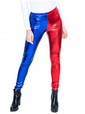 Leggings metallic rot/blau